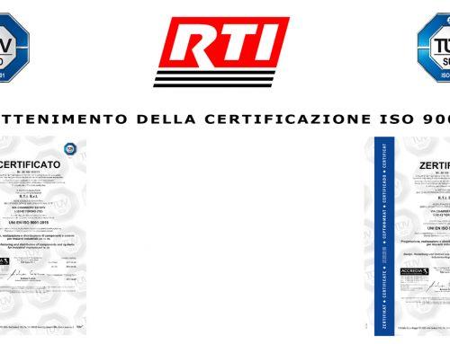 RTI annuncia con orgoglio l'ottenimento della Certificazione ISO 9001